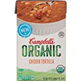 Campbell's Organic Chicken Tortilla Soup kicks up farm-grown vegetables and tender chicken into a southwest-inspired staple that'll keep the whole family happy. Lively flavors of organic black beans, corn and jalapeños are blended with white ...