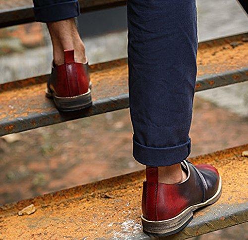 Shoes Wine Up Leather 5 Men's Oxford Insun Lace 8 wf5YpxTqT