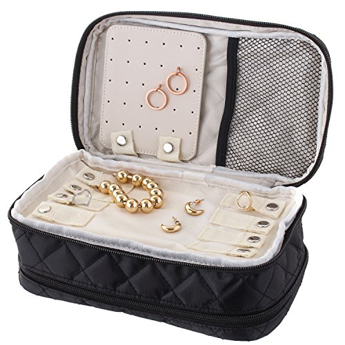 Ellis James Designs Travel Jewelry Organizer Bag Case - Black - with Makeup Pouch Compartments Soft Padded Travel Jewelry Roll and Make Up Bags 2-in-1 Cosmetic Cases with Necklace Holder