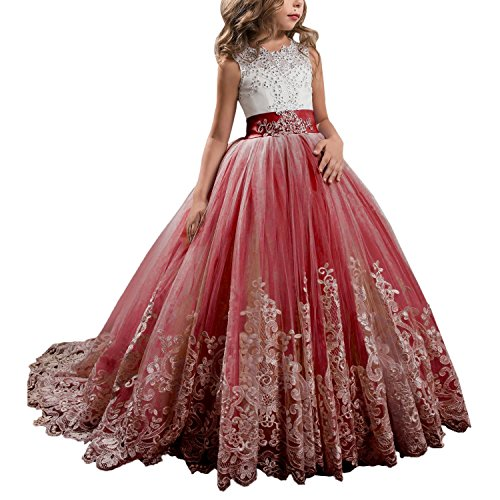 Angela Ball Lace Beaded Pageant Flower Girl Dresses Long Floor Kids Prom Party Gown ANS053