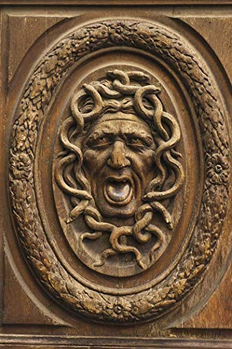 Paris, Photography, Medusa, carved, face, door, Marais, grotesque, snakes, mouth open, wood, France, Europe, Art Print, Wall Art, Gift, Decor, Photo