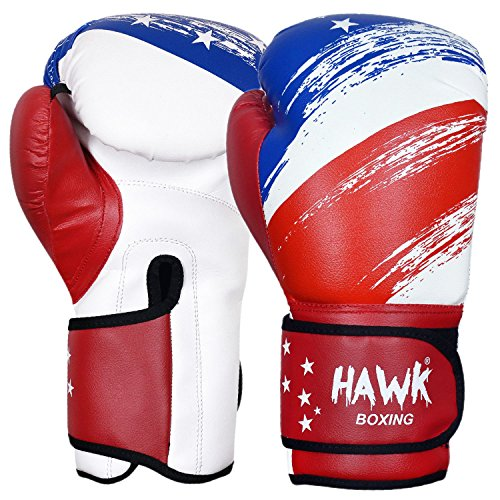 Gloves Boxing Headgear (Hawk Sports Edition Boxing Gloves Sparring with Red Lining Fight Gloves Bag Gloves New Kick Boxing Gloves LIMITED EDITION (16 oz, The American Flag))