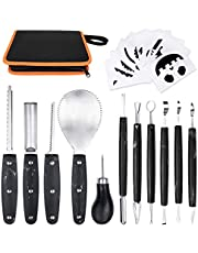 OWUDE Professional Pumpkin Carving Kit, 11 Pieces Heavy Duty Stainless Steel Carving Tools for Halloween with Carrying Case and 10 Pcs Carving Templates-Black
