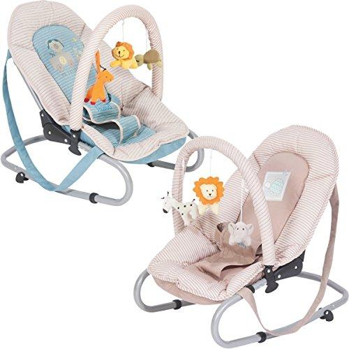 Babywippe PRONTO Babytrage Babysitz Babyliege (Mit SPIELBOGEN) (Blau / Natur)