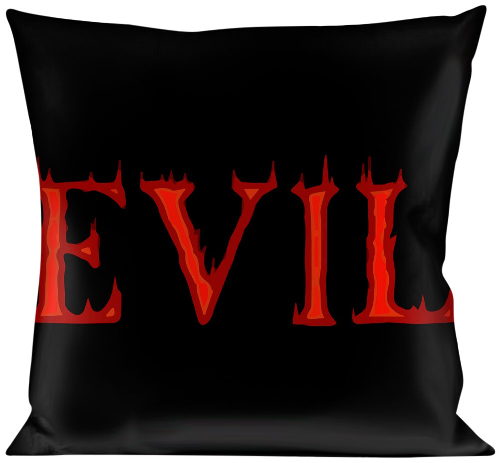 Multicolor Buckle Down Flaming Evil Black//Red Throw Pillow