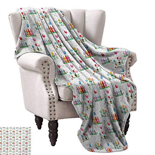 WinfreyDecor Floral Reversible Blanket Bedding Plants Garden Fences Cottage Yard Flowers in Pots Childish Beetles Pattern All Season for Couch or Bed 70