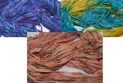 3X10 yards 3 colors Sari Recycled Ribbon Silk Yarn Jewelry Gift Wrap Fair Trade Fiber MixA04