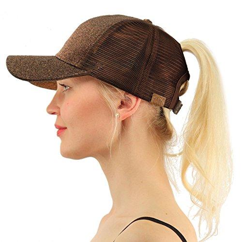 Accessories Cap Bronze (C.C Ponytail Messy Buns Trucker Ponycaps Plain Baseball Visor Cap Dad Hat Glitter Bronze)