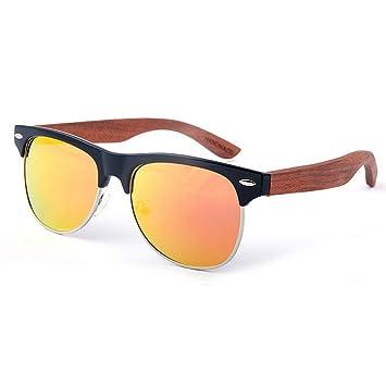 Ju-sheng Gafas de Sol de Madera polarizadas Unisex Semi-sin Montura de Color