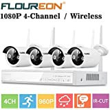 FLOUREON Wireless Home Security Camera System 4CH 1080P NVR Kits + 4 Pack 720P/960P 1.0M/1.3MP HD Wireless IP Camera Network Wifi Night Vision Remote Access Motion Detection (4CH+ 4X 960P Camera)