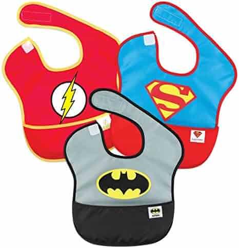 Bumkins Baby Bib, Waterproof SuperBib 3 Pack, DC Comics Super Friends (Batman/Superman/Flash) (6-24 Months)