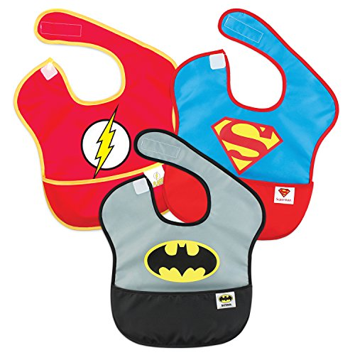 Bumkins DC Comics, Batman, Superman, The Flash, SuperBib, Baby Bib, Waterproof, Washable, Stain and Odor Resistant, 6-24 Months, 3-Pack]()