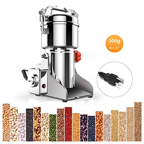 Grain Grinding Machine Swing Type Grinder Flour Mill Stainless Steel Commercial Miller for Spices Grain Sugar Pepper Soybean Coffee 1500W