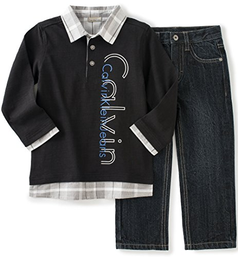 Pant Set Black Denim (Calvin Klein Baby Boys' Polo Top and Jean Pants Set, Black, 12)