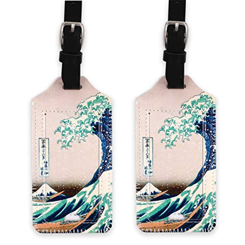 - kandouren Luggage Tags 2 Pieces Set,Great Wave PU Leather travel bag tags for cruise ships,for men and women