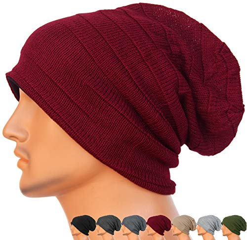 (REDSHARKS Unisex Adult Summer Thin Slouch Beanie Long Baggy Skull Cap Stretchy Knit Hat Lightweight Cool)