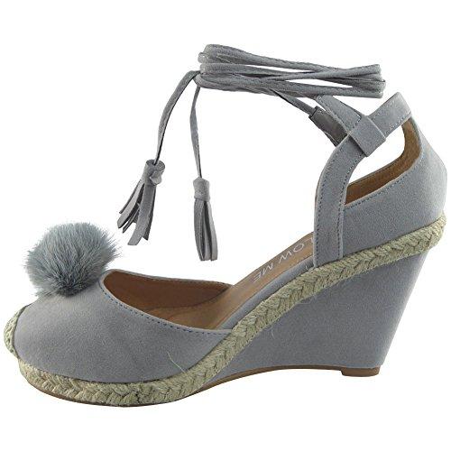 Neue Frauen Spitze Binden Fell Pom Pom Keil Schuhe Größe 36-41 GRAU