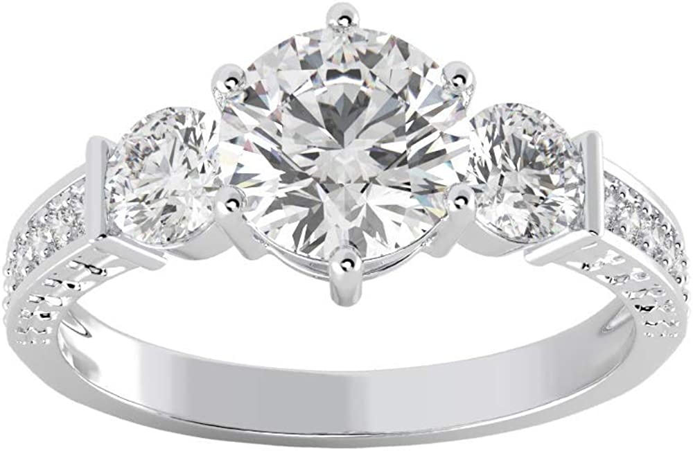 Moissanite Three Stone Engagement Ring with 1.30ct (7mm) G-H stone in .925 Sterling Silver for Women by San Moissan