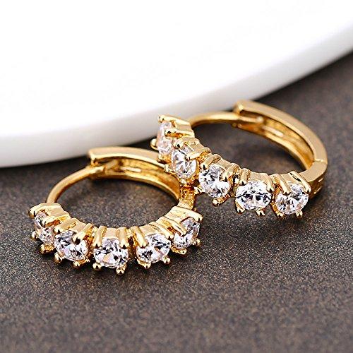 18K Gold Plated White Round Crystal Hoop Women Men Fashion Earrings Unisex Cross Drop Dangle Pendant Ear Jewelry