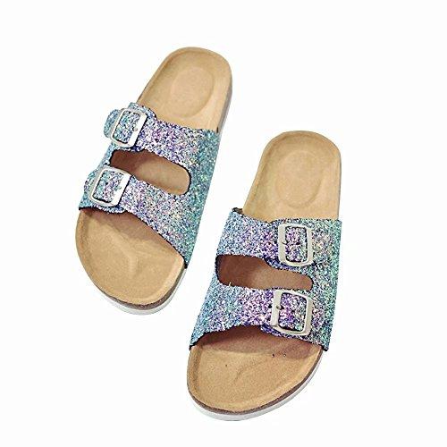 Sandals Glitter (Wonvatu Women's Summer Slide Sandal Double Buckle Strap Flat Glitter Slip On Cork Shoes)