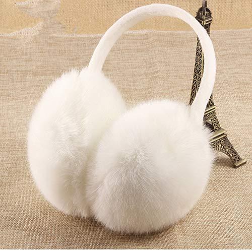 Pusheng Womens/Girls Cute Warm Faux Furry Earmuffs Winter Outdoor Adjustable EarMuffs (White) -
