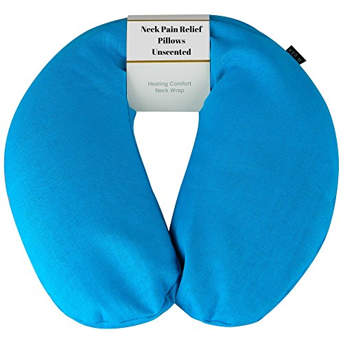 Neck Pain Relief Pillow - Hot / Cold Therapeutic Pillows For Shoulder & Neck Pain , Sleeping , Stress & Migraine Relief - Unscented Neck Wrap (Turquoise - Organic Cotton)