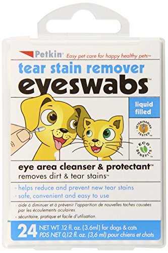Petkin Pet Eye & Tear Stain Swabs, 24-Count (Pack of 6)