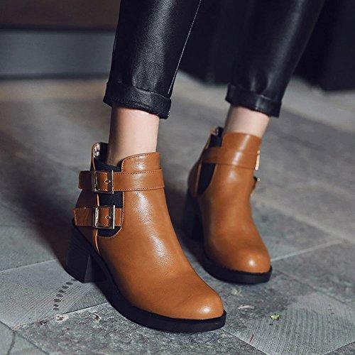 Tallone Da Donna Latasca Con Cinturino Alla Caviglia, Stivali Alla Caviglia Color Giallo Brunastro