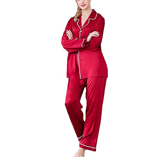 Malbaba Fashion Silk Womens Solid Color Satin Button-Down Pajamas Set Bride Sleepwear at Amazon Womens Clothing store: