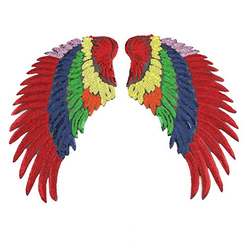 Colorful Large Sequin Angel Wings Patches Rainbow Iron On Patches for Clothing Sewing Stripes On Clothes Badges DIY Fabric Jeans Jacket Patches Angel Applique Fashion(1 Pair) ()