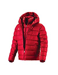 Fuerza Mens Winter Down Wellon Special Collection Hooded Double Layer Parka Jacket - Red - Medium/Large