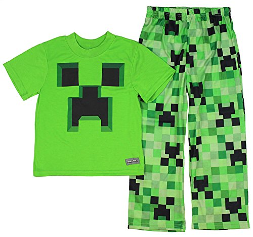 Boys Minecraft Creeper 2-Piece Pajama Set (10)]()