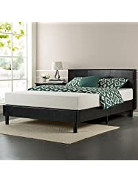 zinus faux leather upholstered platform bed - Bed Frames Queen