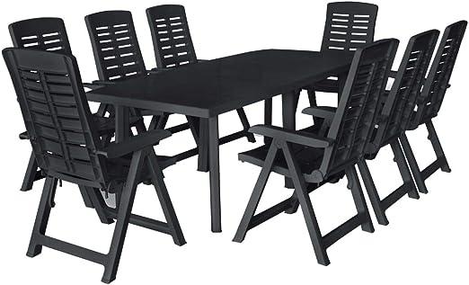 Tidyard- Salon de Jardin avec 8 chaises Pliantes et 1 Table ...
