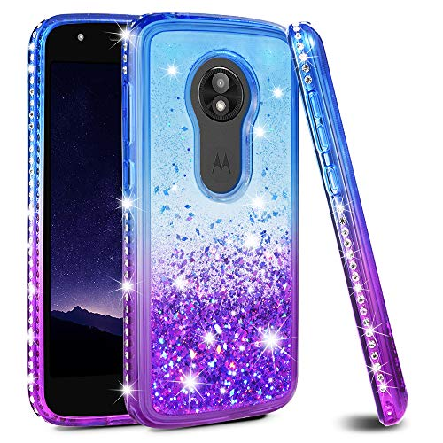 Moto E5 Play Case, Moto E5 Cruise Case, Ruky [Gradient Quicksand Series] TPU Shockproof Protective Flowing Liquid Floating Glitter Diamond Women Girls Cute Case for Motorola Moto E5 Play - Blue/Purple