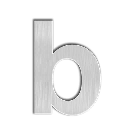 QT Número Moderno de la Casa - EXTRA GRANDE 25 Centímetros - Acero inoxidable cepillado (Letra b), aspecto flotante, fácil instalar y hecho del sólido ...