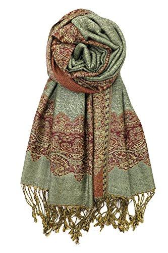 (Achillea Elegant Reversible Paisley Border Pattern Pashmina Shawl Wrap Scarf (Sage Green))