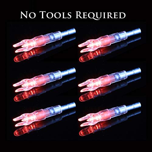 Red Nock Lighted (GearOZ Lighted Arrow Nocks for Archery Crossbow Bolts(Inner Diameter of 0.244