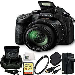 Panasonic Lumix DMC-FZ1000 4K QFHD/HD 16X Long Zoom Digital Camera (Black) + 32GB BUndle 8PC Accessory Kit. Includes SanDisk Extreme 32GB UHS-I/U3 SDHC Memory Card (SDSDXN-032G-G46) + 2 Extended Life Replacement Batteries + Charger + Carrying Case + UV Fi