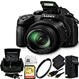 Panasonic Lumix DMC-FZ1000 4K QFHD/HD 16X Long Zoom Digital Camera (Black) 32GB Bundle 8PC Accessory Kit Includes SanDisk Extreme 32GB SDHC Memory Card (SDSDXN-032G-G46), Carrying Case + MORE