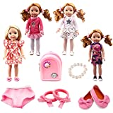 BBTOYS 14.5inch 4set doll clothes shoes&Waterproof backpack Wellie Wishers Willa Dolls Doll Accessories Set