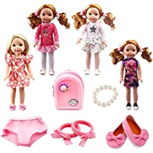 TSQSZ 7PCS Doll Clothes Shoes and Accessories for Girl Doll 14inch14.5 inch Wellie Wishers Willa Dolls … (3)