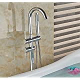 Votamuta Brass Chrome Bathroom Floor Mount Tub Faucet Bathtub Mixer Taps Single Handle with Handshower Tub Filler