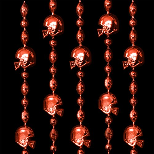 FlashingBlinkyLights Red Football Helmet Mardi Gras Bead Necklaces (Set of 72) -