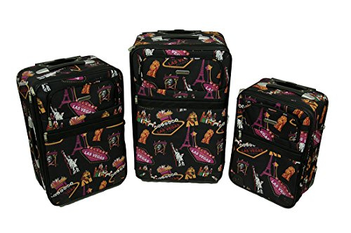 3 Piece Fabulous Las Vegas Black Rolling Suitcase Luggage Set