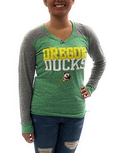 (Royce Apparel Oregon Duck Womens Long Sleeve V-Neck Shirt University Clothing Apparel Green)