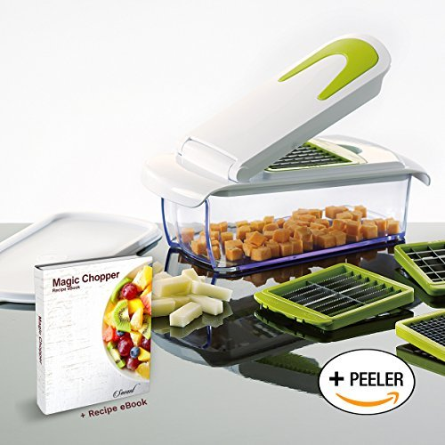 Magic Chopper - 4 Interchangeable Blades - Chop, Cut, Slice & Dice - Great for Fruit & Vegetables - Container with Storage Lid - Perpetual Peeler included and - Kitchen Master