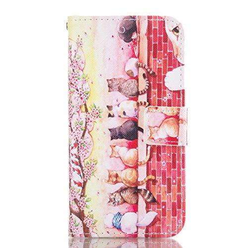 Handyhülle Samsung Galaxy A5 2016,[Nicht für 2015/2017 Version] BtDuck Kreativ Buntes Muster Tasche Brieftasche Handyhülle Ledertasche Magnetverschluss Flip Cover Schutzhülle für Samsung Galaxy A5 201 Galaxy A5 2016-Katze
