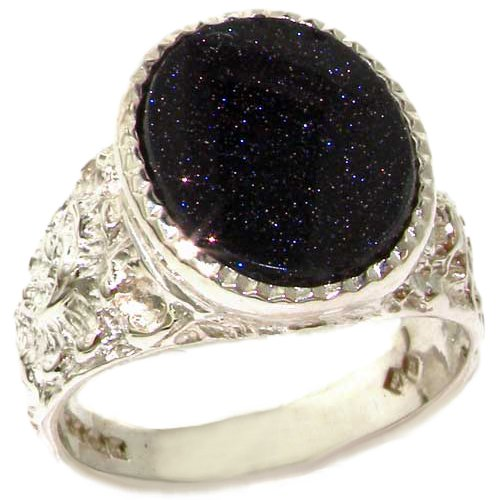 Solid 925 Sterling Silver Cabochon Blue Goldstone Mens Mans Signet Ring - Size 8 - Sizes 6 to 13 Available