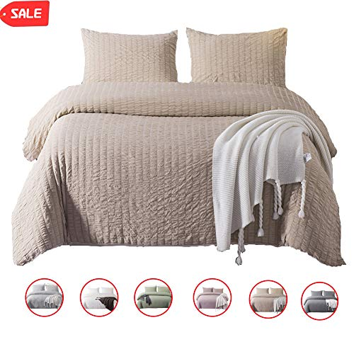 DuShow 3 Pieces Duvet Cover Set Queen Solid Taupe Bedding Set Soft Seersucker Hotel Quality Comforfer Cover Set with Zipper Closure (Ruffle Comforter Tan)